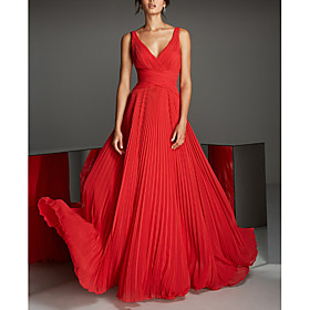 A-Line Empire Red Engagement Formal Evening Dress V Neck Sleeveless Floor Length Chiffon with Pleats 2020