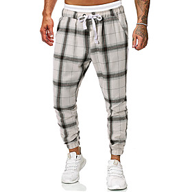 Men's Basic Daily Going out Sweatpants Pants Plaid Checkered Drawstring White S M L