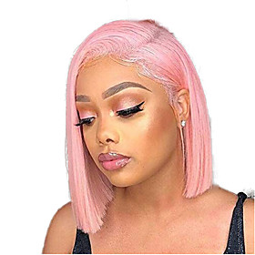 Synthetic Lace Front Wig Straight Middle Part Lace Front Wig Pink Short Pink Synthetic Hair 8-10 inch Women's Adjustable Heat Resistant Party Pink