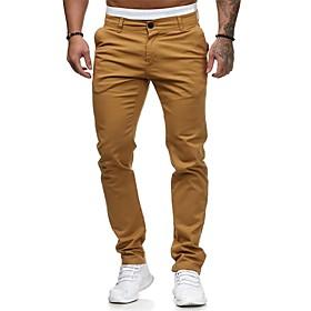 Men's Basic Streetwear Chinos Pants Solid Colored Black  Gray White Black Red US32 / UK32 / EU40 US34 / UK34 / EU42 US36 / UK36 / EU44