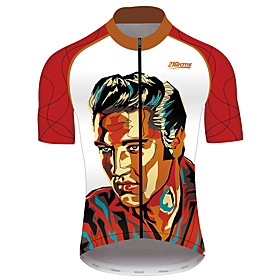 21Grams Elvis Presley Men's Short Sleeve Cycling Jersey - Red / White Bike Jersey Top Breathable Quick Dry Reflective Strips Sports 100% Po