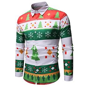 Men's Christmas Shirt Geometric Abstract Graphic Print Long Sleeve Tops Hawaiian Button Down Collar Green / White / Halloween