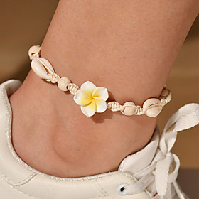 Ankle Bracelet Women's Body Jewelry For Party Daily Cord Shell Yellow Pink 1pc