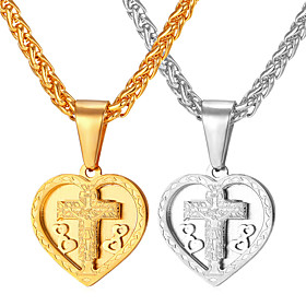 Men's Pendant Necklace Necklace Cross Heart Classic Titanium Steel Gold Silver 55 cm Necklace Jewelry 1pc For Gift Daily Festival / Charm Necklace