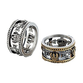 Men's Band Ring Ring 1pc Gold Silver Titanium Steel Circular Vintage Basic Fashion Daily Jewelry Cross Cool