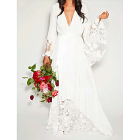A-Line Wedding Dresses V Neck Floor Length Chiffon Lace Long Sleeve Casual Illusion Detail with Lace Insert 2020