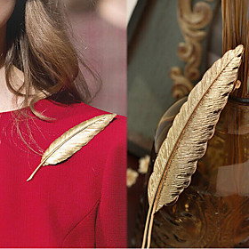 Men's Women's Brooches Long Feather Simple Luxury Trendy Fashion Brooch Jewelry Gold For Wedding Gift Street Promise