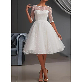 A-Line Wedding Dresses Jewel Neck Knee Length Lace Tulle Short Sleeve Casual Vintage See-Through Cute Illusion Sleeve with Draping Lace Insert 2020