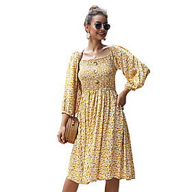Women's A-Line Dress 3/4 Length Sleeve Floral Square Neck Chiffon Yellow Green Royal Blue S M L XL