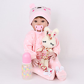 NPK DOLL 22 inch Reborn Doll Reborn Toddler Doll Baby Girl lifelike Safety Gift Cute Education Cloth 3/4 Silicone Limbs and Cotton Filled B
