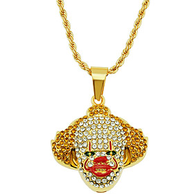 Men's Pendant Necklace Necklace Classic Clown Statement Trendy Rock Fashion Chrome Imitation Diamond Gold 75 cm Necklace Jewelry 1pc For Daily Holiday School S