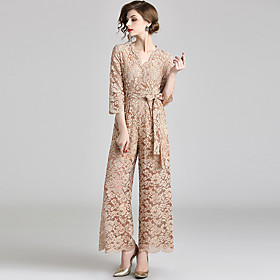 Jumpsuits Elegant Floral Holiday Beach Dress V Neck 3/4 Length Sleeve Ankle Length Lace with Bow(s) Lace Insert 2020 / Illusion Sleeve