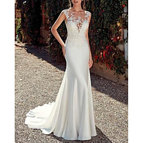 Sheath / Column Wedding Dresses Jewel Neck Sweep / Brush Train Lace Satin Cap Sleeve Mordern Sparkle  Shine with Appliques 2020