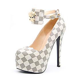 Women's Heels Stiletto Heel Round Toe PU Spring   Fall White