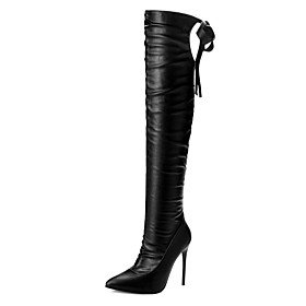Women's Boots Over-The-Knee Boots Stiletto Heel Pointed Toe PU Over The Knee Boots Classic / Minimalism Spring / Fall  Winter Black / Party  Evening