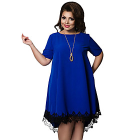 Women's Plus Size Shift Dress - Short Sleeve Solid Colored Lace Basic Loose Blue Red Lavender L XL XXL XXXL XXXXL XXXXXL XXXXXXL