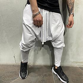Men's Basic Slim Harem Pants Solid Colored Drawstring White Black Green US32 / UK32 / EU40 US34 / UK34 / EU42 US36 / UK36 / EU44