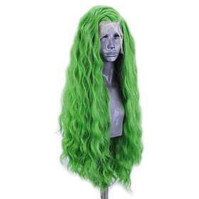 Synthetic Lace Front Wig Wavy Side Part Lace Front Wig Long Green Synthetic Hair 20-26 inch Women's Adjustable Heat Resistant Party Green