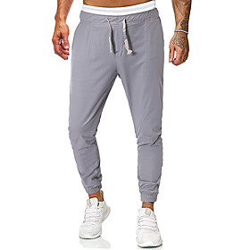 Men's Basic Daily Going out Sweatpants Pants Solid Colored Drawstring Black Light gray Dark Gray M L XL
