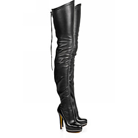 Women's Boots Over-The-Knee Boots Stiletto Heel Round Toe PU Thigh-high Boots Fall  Winter Black