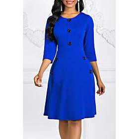 Women's A-Line Dress Knee Length Dress - 3/4 Length Sleeve Vintage Black Purple Red Green Royal Blue S M L XL XXL