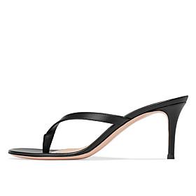 Women's Sandals Stiletto Heel Open Toe Faux Leather Sweet / British Fall / Spring  Summer Black / Light Brown / White