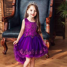 Kids Girls' Active Sweet Solid Colored Sleeveless Asymmetrical Dress Blushing Pink