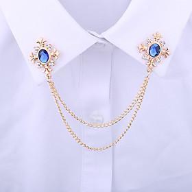 Men's Crystal Brooches Spiga Creative Vertical / Gold bar Statement Tassel Basic Rock Fashion Rhinestone Brooch Jewelry Black Blue For Wedding Daily Street Wor