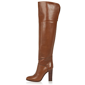 Women's Boots Over-The-Knee Boots Chunky Heel Closed Toe Faux Leather Over The Knee Boots British / Minimalism Winter Brown / Party  Evening