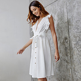 Women's A-Line Dress Knee Length Dress - Sleeveless Solid Color Summer V Neck Casual Cotton 2020 White S M L XL