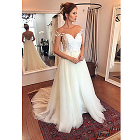 A-Line Wedding Dresses Off Shoulder Sweep / Brush Train Tulle Polyester Short Sleeve Casual Sexy Illusion Detail Backless with Appliques 2020