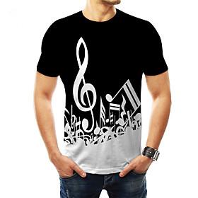 Men's 3D Graphic Print T-shirt Basic Daily Wear Round Neck Black / Rainbow / Short Sleeve