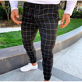Men's Basic Slim Jogger Sweatpants Pants Plaid Checkered Drawstring Black Light gray Dark Gray US34 / UK34 / EU42 US36 / UK36 / EU44 US40 / UK40 / EU48