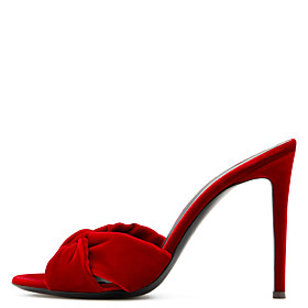 Women's Sandals Black Sandals Fall / Spring  Summer Stiletto Heel Open Toe Sweet British Daily Party  Evening Solid Colored Synthetics Black / Red