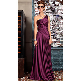 Sheath / Column Elegant Purple Wedding Guest Formal Evening Dress One Shoulder Sleeveless Floor Length Satin with Pleats Crystals Draping 2020