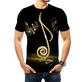 Men's 3D Graphic Print T-shirt Basic Daily Casual Round Neck Black / Summer / Short Sleeve