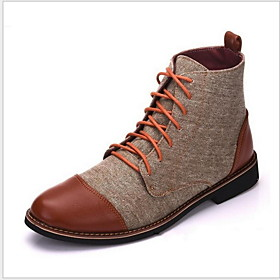 Men's Boots Combat Boots Work Boots Daily Cotton Warm Booties / Ankle Boots Black / Blue / Khaki Fall  Winter