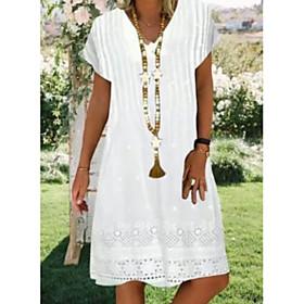 Women's Shift Dress - Sleeveless Geometric V Neck Elegant White M L XL XXL XXXL