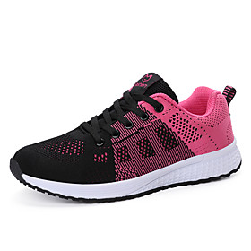 Women's Trainers / Athletic Shoes Spring / Summer Flat Heel Round Toe Casual Athletic Daily Color Block Tissage Volant Running Shoes Black / Dusty Rose / Fuchs