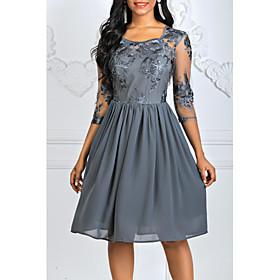 Women's A-Line Dress Knee Length Dress - 3/4 Length Sleeve Floral Lace Square Neck Lace Blue Wine Gray S M L XL XXL