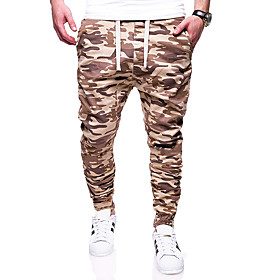 Men's Basic Daily Going out Sweatpants Pants Camouflage Drawstring Black Khaki S M L