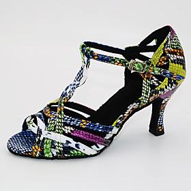 Women's Latin Shoes Heel Flared Heel PU Red / Black / Black / Green / Silver / Black / Leather / Practice