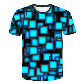 Men's 3D Graphic Print T-shirt Street chic Exaggerated Club Beach Round Neck Blue / Short Sleeve