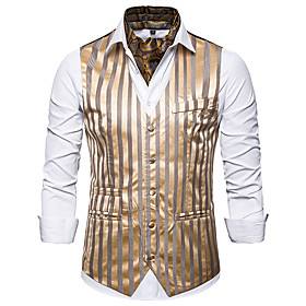 Men's V Neck Vest Striped White / Black / Gold US34 / UK34 / EU42 / US36 / UK36 / EU44 / US40 / UK40 / EU48 / Slim