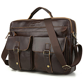 Men's Bags Cowhide Laptop Bag / Briefcase / Top Handle Bag Belt Zipper Solid Color for Daily / Outdoor Black / Brown / Fall  Winter