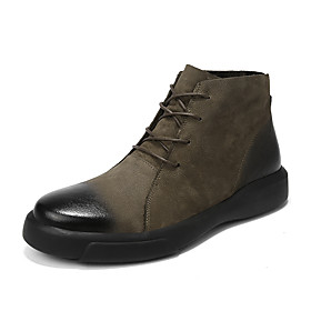 Men's Boots Combat Boots Work Boots Casual / British Daily Office  Career Nappa Leather Breathable Non-slipping Height-increasing Mid-Calf Boots Black / Khaki