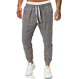 Men's Basic Jogger Chinos Pants Plaid Checkered Gray US32 / UK32 / EU40 US34 / UK34 / EU42 US36 / UK36 / EU44