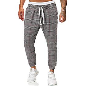 Men's Basic Jogger Chinos Pants Plaid Checkered Gray US32 / UK32 / EU40 US34 / UK34 / EU42 US36 / UK36 / EU44
