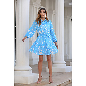 Women's Basic A Line Dress - Polka Dot Blue  White, Ruched Lace up Patchwork Blue S M L XL