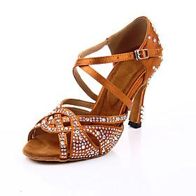 Women's Dance Shoes Latin Shoes / Ballroom Shoes / Line Dance Heel Crystal / Rhinestone / Crystals Flared Heel Customizable Brown / Performance / Satin / Leath
